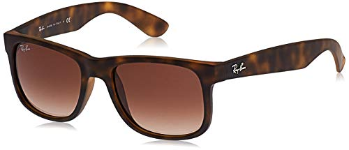 Rayban Justin RB4165 - Gafas de sol Unisex, Marrón (Rubber Light Havana), 51 mm