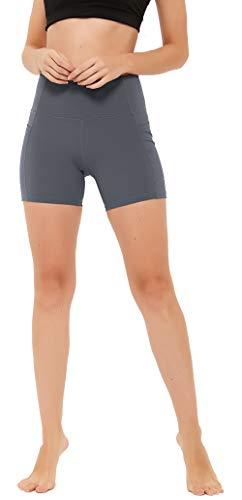 "N-A Women's Shorts High Waist Yoga Workout Running Tummy Control Exercise Shorts Side Pockets 5"" XXL Dark Grey"