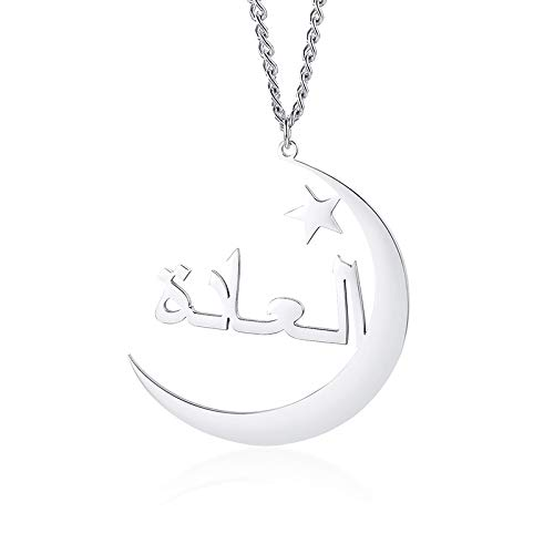 VAWAA Moon Star Necklace Personalized Arabic Name Necklaces Gold Color Customized Islamic Nameplate Jewelry for Women Men Gift
