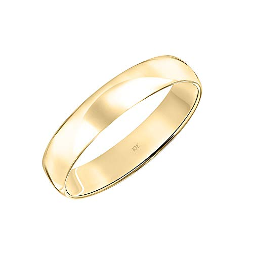 Men's 10K Yellow Gold 4MM Lightweight Classic Plain Wedding Band by Brilliant Expressions, Size 9