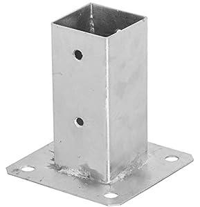 ADGO - Soporte para postes (70 x 70 mm, galvanizado, para postes de cerca, de acero plateado