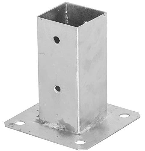 ADGO - Soporte para postes (80 x 80 mm, galvanizado, con pernos, para inmersión en caliente, soporte para suelo, funda deslizante, ancla de acero, color plateado