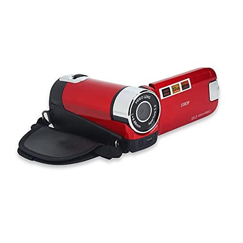 Videocamera digitale Videocamera 1080P 16MP Full HD Rotazione 270 ° Videoregistratore grandangolare Videoregistratore Schermo IPS 3,0 pollici Videocamere zoom 16X Videocamera NP5C integrata(Red-EU)