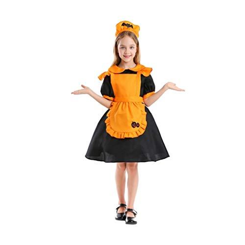 Disfraces de halloween para Nios Traje de Halloween de los nios, vampiro de la criada del traje con el patrn de calabaza de la linterna mgica, incluyendo el tocado y el vestido de delantal Disfrac