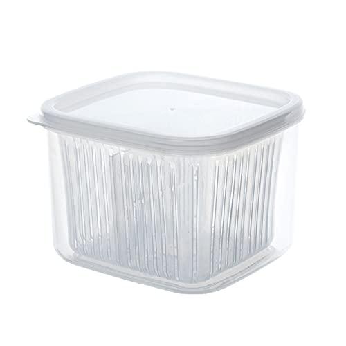 Moares Contenedor de almacenamiento de alimentos, doble capa, multifuncional, de grado alimenticio, cajas de drenaje de frutas, a prueba de fugas, recipientes de almacenamiento de cocina, transparente
