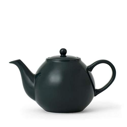 Porzellan Retro Teekanne dunkel-grün mit Deckel, Tee-Sieb, Henkel und Nicht tropfenden Ausguss, 0,84 Liter