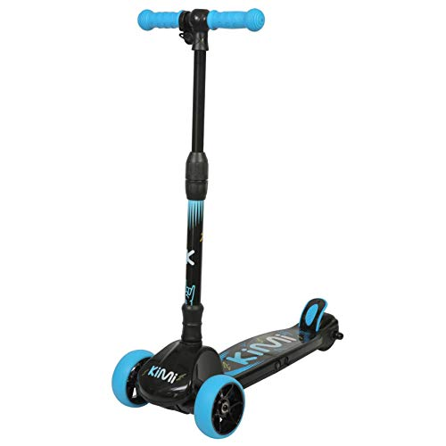 KIMI 3 Wheel Electric Kids Scooter - Motorized Scooter for Children Ages 5-9 - Light Up Wheels, Adjustable Handlebar, Folds for Easy Storage - Rechargeable Battery, 5 MPH Limit (Blue)