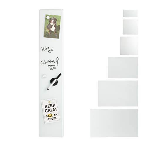 Relaxdays Pizarra magnética, 15 x 80 cm, 3 imanes, rotuladores, Soporte para bolígrafos, Oficina y Cocina, Cristal de Seguridad, Color Blanco