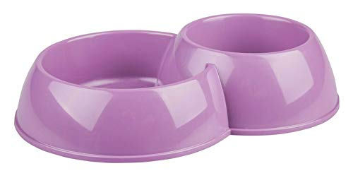 4BIG.FUN, ciotola per cibo doppia, ciotola per acqua, gatto, cane, viola, plastica