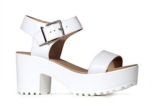 J. Adams Encore Platform Sandals for Women - White Faux Leather Chunk Heel - 7