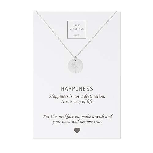 LUUK LIFESTYLE Edelstahl Halskette mit Palmen Anhänger und Happiness Spruchkarte, Glücksbringer, Damen Schmuck, silber