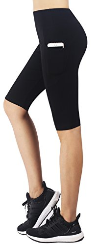 Zinmore Women's Capri Yoga Shorts Exercise Workout Pants Running Cycling Shorts Half Pants with Pockets Black L