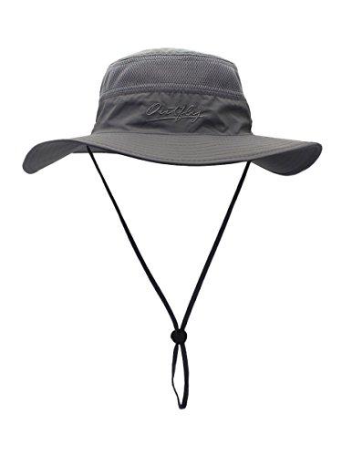 WANYING Damen Herren Outdoor Bucket Hut Fischer Hut Buschhut Atmungsaktiv Schnelltrocknend Sonnenschutz - für Kopfumfang 60-63 cm Dunkelgrau