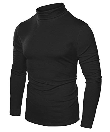 JINIDU Men's Slim Fit Turtleneck T Shirts Casual Cotton Thermal Pullover Sweaters (M, Black000)