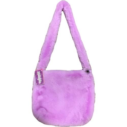 Y2k Furry Crossbody Bag Kawaii Pink Designer Bag Harajuku Faux Fur Long Shoulder Strap Bolso de compras Bolso de compras Fashion Ladies Summer Bag