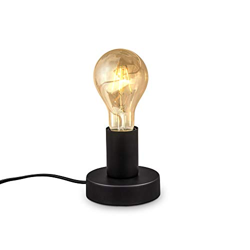 B.K.Licht, Lampada da tavolo, attacco per lampadina E27 non inclusa, interruttore sul cavo, diametro 10cm, abat-jour da comodino piccola in metallo nero opaco, luce da lettura vintage industriale
