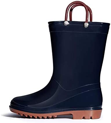 SHOFORT Kids Boys Girls Rain Boots with Easy on Handles Rainboots Toddler Little Kid Big Kid product image