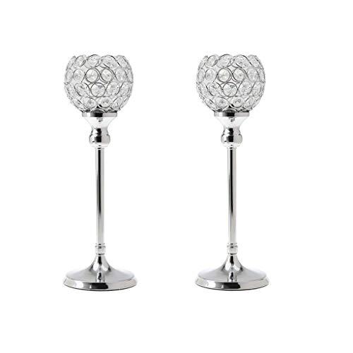 MZXUN Partidor de Vela de Cristal de 2 Piezas Adornos de la Pieza de la Pieza del candelabro 35 cm de Altura - Plata, 35 cm