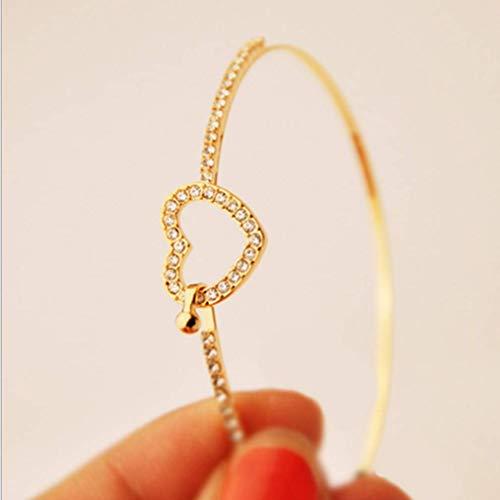 Weisin Hollow Heart Armband mit simuliertem Diamant Dekoration minimalistischen Edelstein Inlay Handkette für Hochzeitsfeier Schmuck Ornamente, Gold