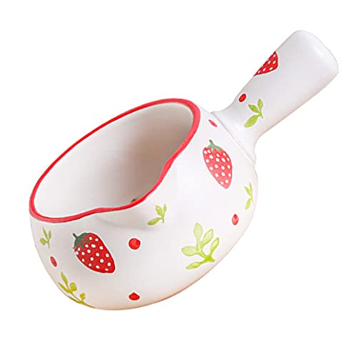 Cabilock Small Milk Pot Ceramic Butter Warmer Soup Milk Boiling Melting Pot with Handle for Milk Melting Chocolate Candy Candle Making 800ml