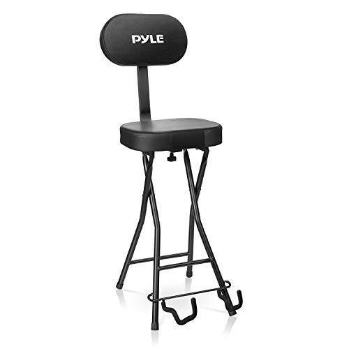 Pyle Seat with Padded Cushion-Heavy-Duty Ergonomic Backrest w/Fold Stand, Foot Rest, Collapsible Design, Holds Acoustic, Electric & Bass Guitars, 300 Lbs Max Load Capacity PYG60