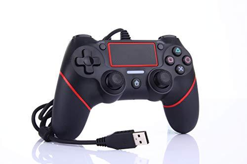 Neu entwickelter PS4 Wired Game Controller für Playstation 4 / Pro / Slim / PC / Laptop, USB-Stecker Gamepad Joystick mit Dual Vibration und Anti-Rutsch-Griff, Ergonomie, 2M Kabel, Schwarz & Rot