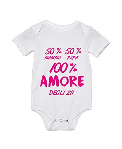 Body Neonato Divertente - Femminuccia 50% Mamma 50% Papà 100% Amore Degli Zii - Body Neonato Zii - Idea Regalo