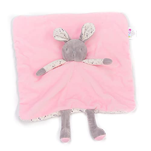 INCA. Dou dou bebé. Mantita de apego bebé. Extra de suavidad. Peluche de Conejito. Color Rosa. Medida del doudou para bebé: Manta 16 cm x 16 cm x 6 cm