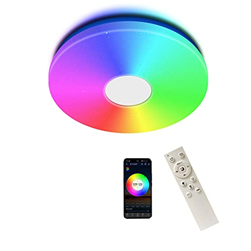 LEDシーリングライト RGB 昼光色 リモコン付き Alexa対応 音色操作 6畳 シーリングライト 薄型シーリングライト 28W 調光 調色 スマート天井灯 記憶機能 省エネ PSE認証 取付簡単 3000K~6500K自由に調整 子供部屋 玄関 寝室 和室 台所 洗面所 天井照明 日本語説明書付