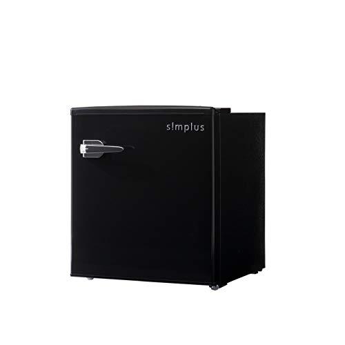 レトロ冷蔵庫 48L 1ドア 冷凍冷蔵 SP-RT48L1 3色 レトロデザイン レトロ おしゃれ かわいい コンパクト 小型 ミニ冷蔵庫 一人暮らし 省エネ simplus シンプラス (ブラック)