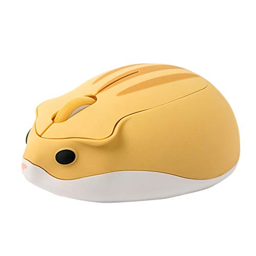 Optische Maus, kabellos, 2,4 G, niedlicher Hamster-Cartoon-Computer-Maus, ergonomisch, Mini-3D-Design