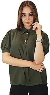 Kidwala Women's Tops, Tees & Blouses Ruffled Puff Short Sleeve Buttons Up Tops for Women