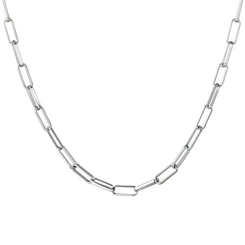 Women Chain Choker Necklace, Silver Plated Link Chain Necklace for Girls 24 Inch