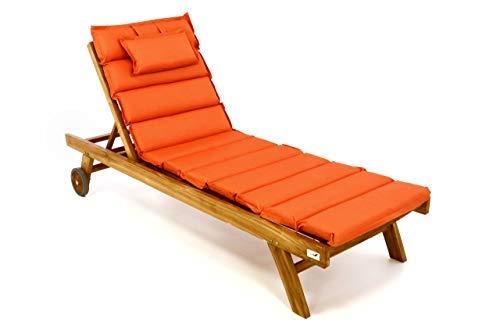 Divero Set Sonnenliege Holzliege Gartenliege Teakholz behandelt inkl. Räder, verstellbares Kopfteil, hochwertige Auflage in orange