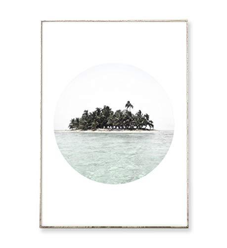 DIN A4 Kunstdruck Poster MY ISLAND -ungerahmt- Palmen, Meer, Insel, Ozean, Strand, Kreis, geometrisch, vintage, Reisen, Fernweh