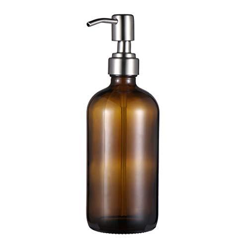 VALICLUD Leere Pumpflasche Nachfüllbare Glasflasche Reisespender für Shampoo Duschgel Flüssigseife (500 ml Braune Flasche mit Edelstahl Pumpenkopf)