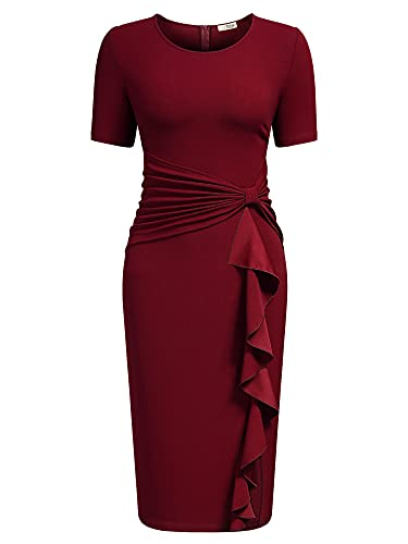 AISIZE Women 50s Vintage Ruffle Peplum Cocktail Pencil Knee Dress Medium Dark Red
