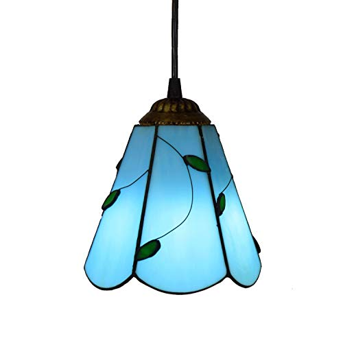 6 Inch Tiffany Style Small Pnedent lamp Blue Leaves Glass Pendant Light Ceiling Hanging Lamp Fixture Shade For Dining Room Kitchen Island Bedroom E26/E27`