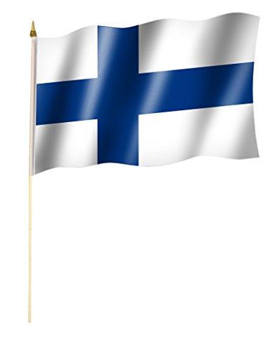 Stockflagge/Stockfahne FINNLAND Flagge/Fahne ca. 30 x 45 cm mit ca. 60cm Stab/Stock
