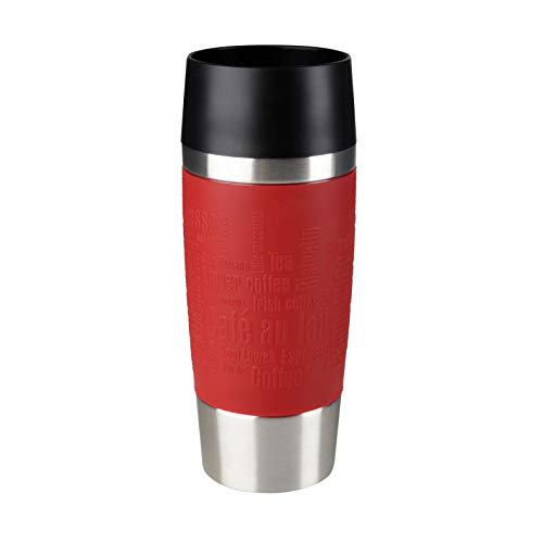 Tefal K3084114 Travel Mug, Reusable Drink Bottle To Go, Quick Press Closure, Silicone Bottle Sleeve, Red, 360 ml