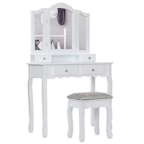 Specchiera Tavolo Cosmetici Mobile da Trucco da Toeletta con Sgabello Comò con Specchio (Bianco con 3 specchi)