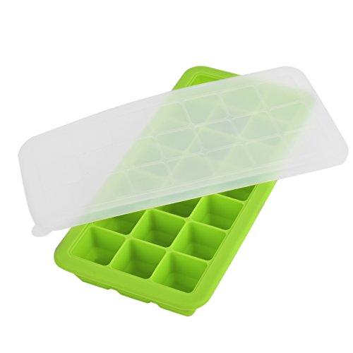 NEWCOMDIGI Portion Silicone Bac à Glaçons 21 Cubes Portion Boîte de Congélation avec Couvercle,Vert