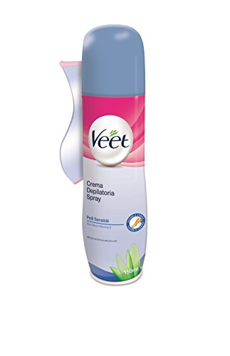 Veet Crema Depilatoria Spray Pelli Sensibili Silk & Fresh Technology, 150 ml