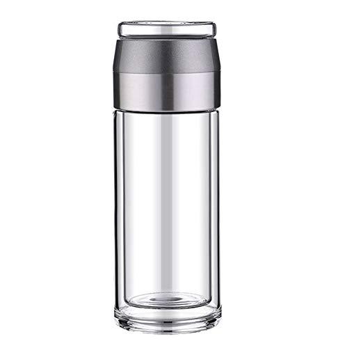 Taza de té de cristal con infusor y tapa, botella de agua de vidrio de doble pared con separación de té y agua, taza de té con infusor de té, 10 onzas (color: Tipo3)