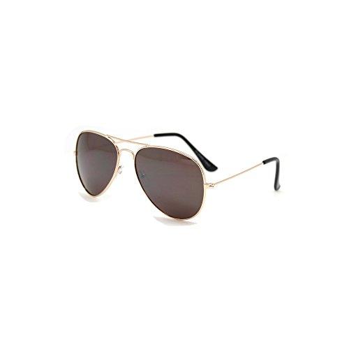 TrendandStylez Hochwertige Pilotenbrille Sonnenbrille 70er Jahre Herren & Damen Sunglasses Fliegerbrille verspiegelt (Gold / Brown)