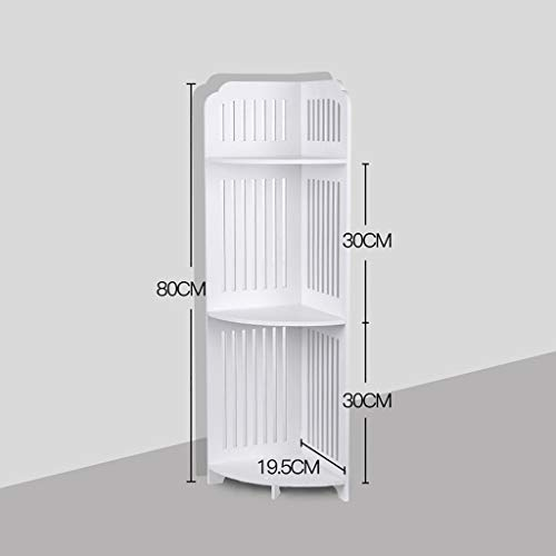 3 Tier Corner Shelves, Bathroom Bathtub Tension Shower Caddy Holder, Corner Ladder Shelf for Living Room, Bookcase Display Organizer, Multipurpose Corner Shelving for Small Spaces (White)