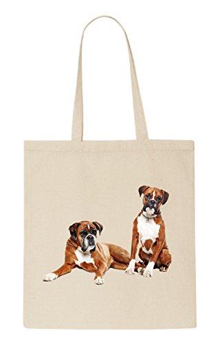 Boxer Dog Funny natürliche organische Tasche / natural organic Bag (Beige