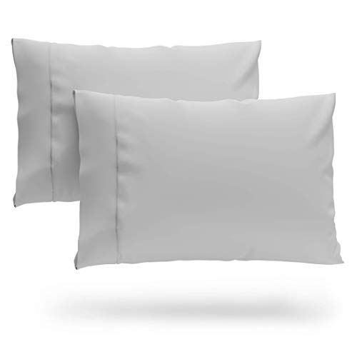 Cosy House Collection Luxury Bamboo Standard Size Pillowcases - Silver Pillowcase Set of 2 - Ultra Soft & Cool Hypoallergenic Natural Bamboo Blend Cover - Resists Stains, Wrinkles, Dust Mites
