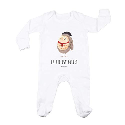 Mr. & Mrs. Panda Junge, Schlafanzug, 3-6 Monate Baby Strampler Eule Französisch mit Spruch - Farbe Weiß
