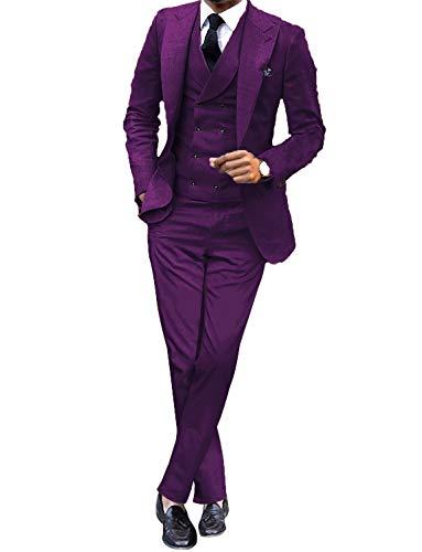 UMISS Herren Slim Fit 3-teiliger Anzug für Herren Peak Lapel Lässig/Formell/Hochzeits-Smoking